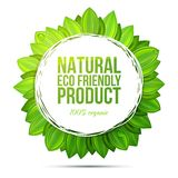 Φυσική ετικέτα προϊόντων eco φιλική με τα ρεαλιστικά φύλλα Στοκ εικόνα με δικαίωμα ελεύθερης χρήσης