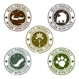 圆老变形eco邮票传染媒介集合用于设计 免版税库存图片