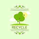 Зеленое дерево рециркулирует плоский вектор значка eco Стоковая Фотография RF