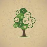 Δέντρο Eco, εικονίδια καθορισμένα Στοκ φωτογραφία με δικαίωμα ελεύθερης χρήσης