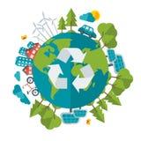 友好的Eco,绿色能量概念,传染媒介 免版税库存照片