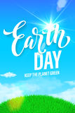 世界地球日海报 绿色行星eco的传染媒介例证 免版税图库摄影