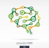 与eco、地球,绿色,回收,自然和家庭象的脑子概念 免版税库存图片