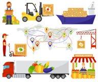 动画片绿色eco食物果子送货卡车传染媒介例证 免版税库存图片
