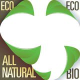 Eco and all natural corner label stickers. With peeling leaves - for use in print materials, on product packaging, and on websites Royalty Free Stock Image