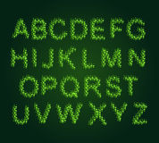 Eco alphabet. Leaves  Font Green. letters Royalty Free Stock Photos