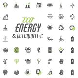 Eco and Alternative Energy vector icon set. Energy source electricity power resource set vector. Eco and Alternative Energy vector icon set. Energy source Stock Photography