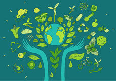 Eco amigável, conceito verde da energia, vetor liso Fotografia de Stock Royalty Free