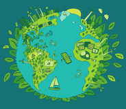 Eco amistoso, concepto verde de la energía, vector plano Fotos de archivo