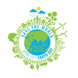 Eco amistoso, concepto verde de la energía, ejemplo del vector Día de tierra Fotografía de archivo