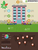 Eco apartment house infographic. Ecology green house in city. Flat style vector illustration. Solar panels, electric powered car Royalty Free Stock Photos