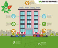 Eco apartment house infographic. Ecology green house in city. Flat style vector illustration. Royalty Free Stock Images