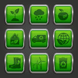 Eco app icons. Set of ecology app icons. Vector illustration royalty free illustration