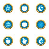 Eco apple icons set, flat style. Eco apple icons set. Flat set of 9 eco apple vector icons for web isolated on white background vector illustration