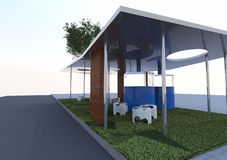Eco Architecture. Rendering, conceptual architecture Royalty Free Stock Photo