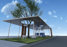 Eco Architecture with blue sky. Eco Architecture Rendering consist of three elements are roof,column and grass ground Royalty Free Stock Photo