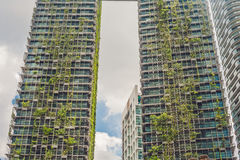 Eco architecture. Green skyscraper building with plants growing on the facade. Ecology and green living in city, urban environment Royalty Free Stock Photography