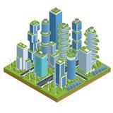 Eco-architettura piana isometrica Costruzione verde del grattacielo con le piante che crescono sulla facciata Ecologia e vita ver illustrazione di stock
