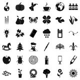 Eco art icons set, simple style Stock Images