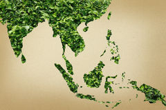 Eco asia map on paper Stock Images