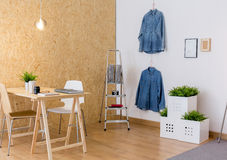 Eco atelier interior. Image of contemporary eco atelier interior of creative worker Royalty Free Stock Image