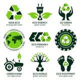 Eco-Aufkleber und Symbolsatz Lizenzfreie Stockfotografie