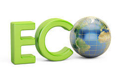 Eco-Aufschrift mit Kugel Erde, Wiedergabe 3D Lizenzfreies Stockfoto