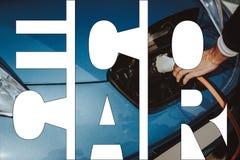 Eco-Auto-Collagen-alternatives Energie-Elektro-Mobil lizenzfreies stockbild