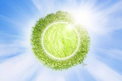 Eco background. Abstract green planet in blue sky Stock Images