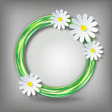 Eco background with 3d chamomile. Eco background with 3d flower chamomile. Stylish icon - element of design. Floral decorative frame. Vector illustration Stock Photography