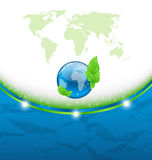 Eco background with earth map and environment symb Stock Image