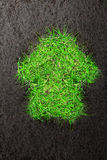 Eco background with soil and house of grass Royalty Free Stock Images