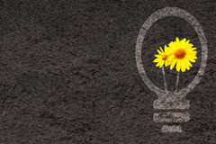 Eco background with soil and light bulb silhouette Royalty Free Stock Image