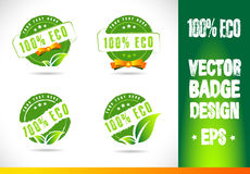 100% Eco Badge Logo Vector. 100% Eco Badge Logobadge label seal stamp logo text design green leaf template vector eps Royalty Free Stock Image