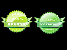 Eco Badges. Eco friendly and organic Stock Images