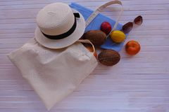 Eco bag with fruit, hat and sunglasses stock photography