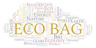 Eco Bag word cloud. Wordcloud made with text only stock illustration