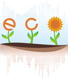 Eco banner with sunflower Royalty Free Stock Photo