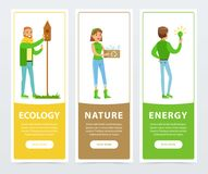 Ecological lifestyle banners with people volunteers activities Royalty Free Stock Image