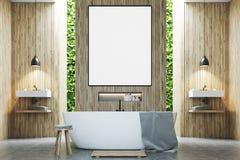 Eco bathroom two sinks, poster wood Stock Photo