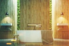 Eco bathroom two sinks, wood toned Stock Images