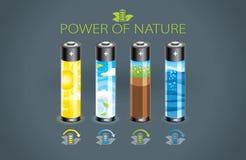 Eco batteri Stock Illustrationer