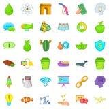 Eco battery icons set, cartoon style. Eco battery icons set. Cartoon style of 36 eco battery vector icons for web isolated on white background Stock Image