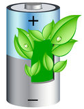 Eco battery with leaves Royalty Free Stock Photo