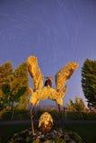 Eco-beeldhouwwerk stijgende kranen Stock Afbeeldingen