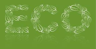 Eco Beschriftung gebildet von den weißen Blättern vektor abbildung