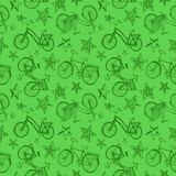 Eco bicycle background. Cute doodle bicycles and stars on green background. Seamless pattern Stock Photos