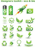 Eco and bio icons. A large set of eco icons Royalty Free Stock Photos