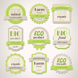 Eco and Bio labels. Collection of Eco and Bio vintage labels Royalty Free Stock Photography