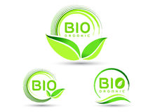 Eco Bio Leaf Icon. Vector illustration drawing representing a bio organic leaf icon set Royalty Free Stock Images